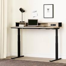 Adjustable Height Standing Desk with Built In Power Bar - Soft Elm and Matte Black