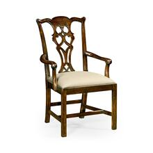Chippendale Style Classic Walnut Arm Chair