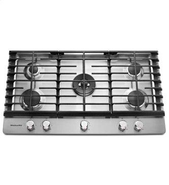 KitchenAid(R) 36'' 5-Burner Gas Cooktop - Stainless Steel