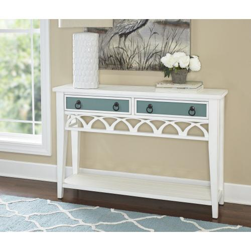 2-drawer and 1-open Shelf Console Table, White and Teal