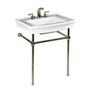 White JULIAN Console Lavatory with Satin Nickel Metal Finish Product Image