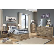 Twin Panel Bed With 5 Storage Drawers With Mirrored Dresser