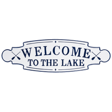 """View Product - Blue & White Enamel """"Welcome to the Lake"""" Wall Decor"""