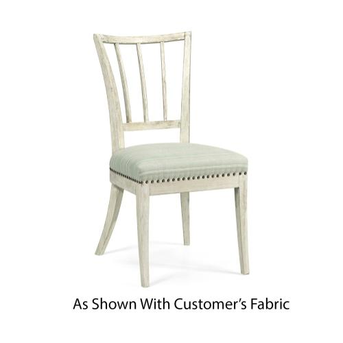 Bywater Washed Acacia Carver Side Chair, Upholstered in COM