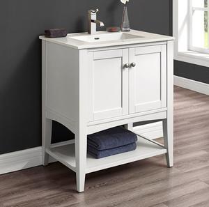 "Shaker Americana 30"" Open Shelf Vanity - Polar White Product Image"
