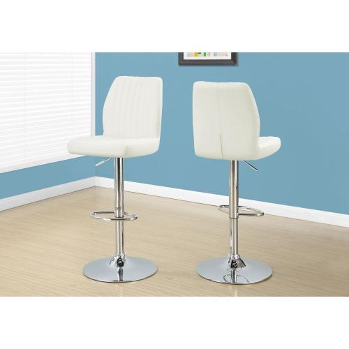 BARSTOOL - 2PCS / WHITE / CHROME METAL HYDRAULIC LIFT