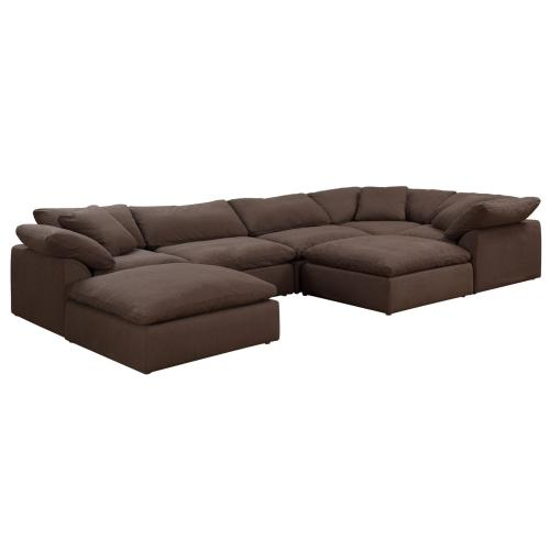 Cloud Puff Slipcovered Sectional Sofa with Ottomans -(7 Piece)