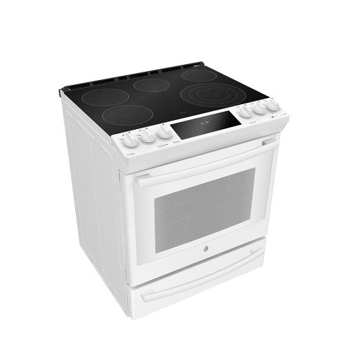 """GE Profile 30"""" Electric Slide-In True European Convection with Precise Air Range with Baking Drawer White - PCS940DMWW"""