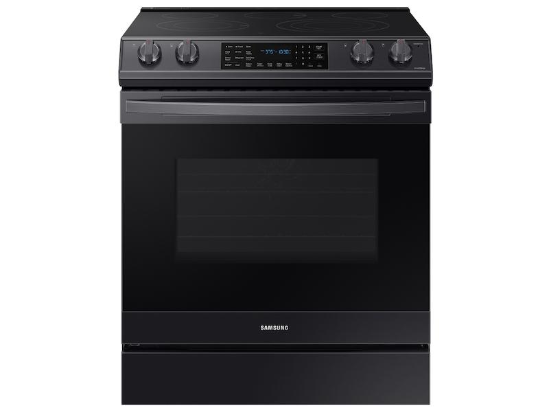 Samsung6.3 Cu. Ft. Smart Slide-In Electric Range With Air Fry In Black Stainless Steel