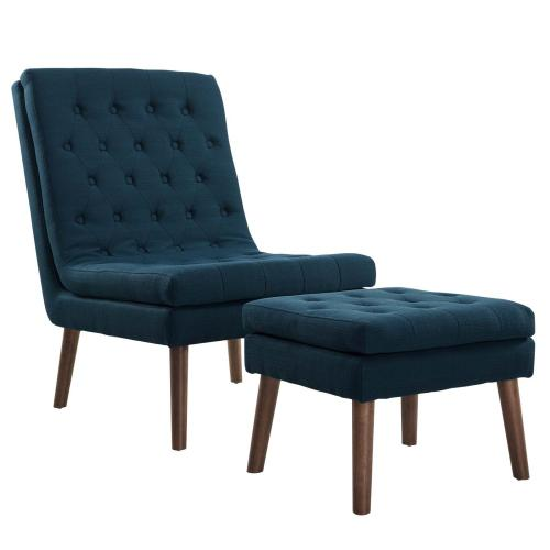 Modway - Modify Upholstered Lounge Chair and Ottoman in Azure