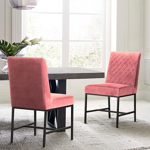 Napoli Pink Velvet and Black Leg Modern Accent Dining Chair- Set of 2
