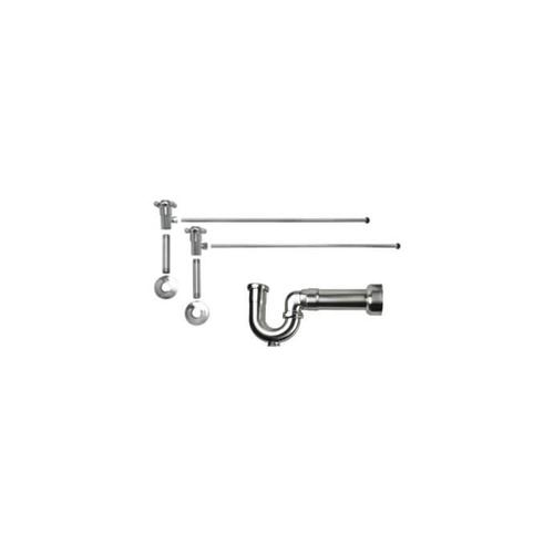 """Mountain Plumbing - Lavatory Supply Kit w/ Massachusetts P-Trap - Angle - Cross Handle - 1/2"""" Female IPS Inlet x 3/8"""" O.D. Compression Outlet - Polished Copper"""