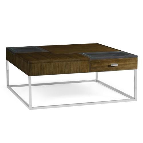 Square Autumn Walnut Coffee Table with Two Glass Top Drawers