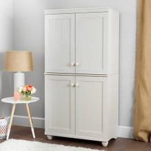 4-Door Storage Armoire - White Wash