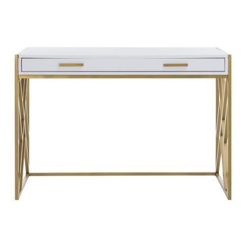 Elaine 1 Drawer Desk - White / Gold