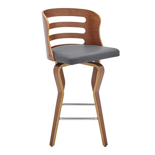 """Verne 26"""" Swivel Gray Faux Leather and Walnut Wood Bar Stool"""