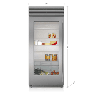 "Subzero36"" Classic Refrigerator with Glass Door"