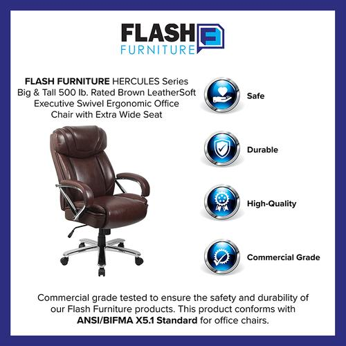 Gallery - HERCULES Series Big & Tall 500 lb. Rated Brown LeatherSoft Executive Swivel Ergonomic Office Chair with Extra Wide Seat