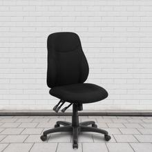 View Product - Mid-Back Black Fabric Multifunction Swivel Ergonomic Task Office Chair