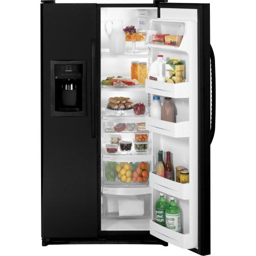 GE® ENERGY STAR® 25.3 Cu. Ft. Side-By-Side Refrigerator with Dispenser (This is a Stock Photo, actual unit (s) appearance may contain cosmetic blemishes. Please call store if you would like actual pictures). This unit carries our 6 month warranty, MANUFACTURER WARRANTY and REBATE NOT VALID with this item.