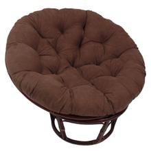 Bali 42-inch Rattan Papasan Chair with Microsuede Fabric Cushion - Walnut/Camel