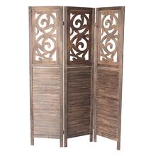 7036 DARK BROWN Rustic Shutter 3-Panel Room Divider