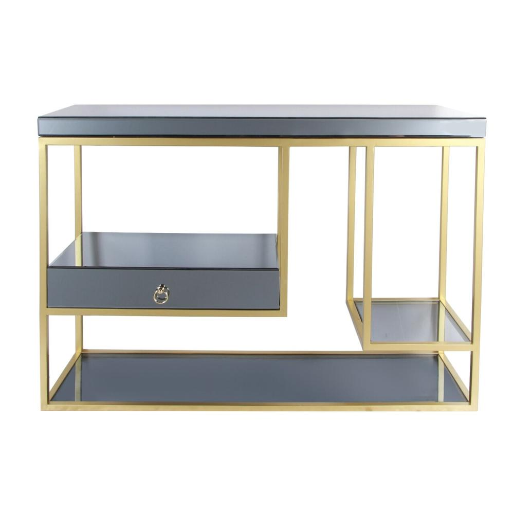 """Metal, 47"""" Console Table With Drawer, Gold"""