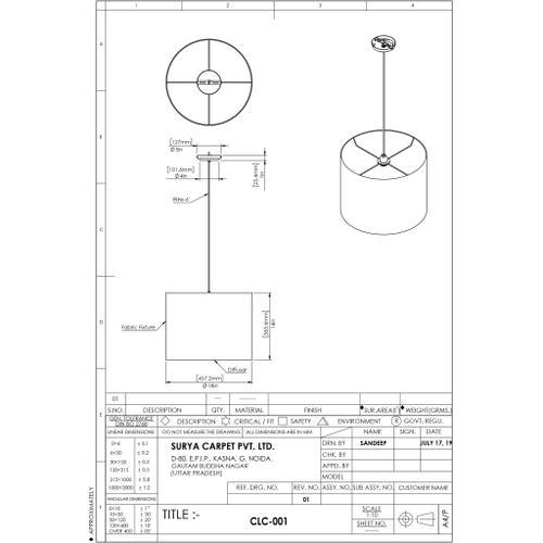 """Surya - Chalcot CLC-001 14""""H x 18""""W x 18""""D"""
