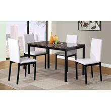 Citico 5-Piece Metal Dinette Set with Laminated Faux Marble Top, White