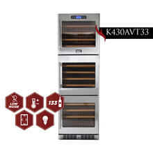 KUCHT 133-Bottle Triple Zone Wine Cooler Built-in with Compressor in Stainless Steel