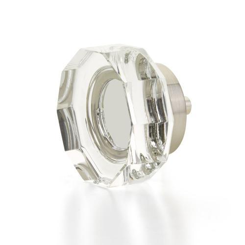 "City Lights, Large Multi-Sided Glass Knob, Satin Nickel, 1-3/4"" dia"