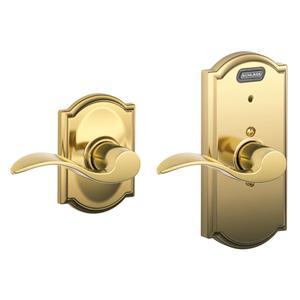Schlage - Bright Brass Passage Lever w/Built-In Alarm