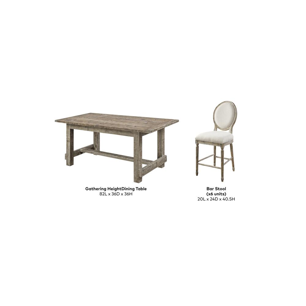 "Emerald Home Interlude Gathering Table W/6 24"" Barstool Sandstone D560-13-05-7pcset-k"