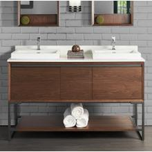 """See Details - M4 60"""" Double Bowl Vanity - Natural Walnut"""