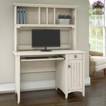 Salinas Small Computer Desk with Hutch - Antique White