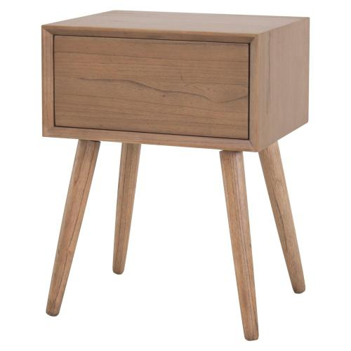 New Pacific Direct - Henley KD Night Stand/ Side Table Wooden Legs, Newton Brown