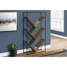 "BOOKCASE - 60""H / BROWN RECLAIMED WOOD-LOOK / BLACK METAL"