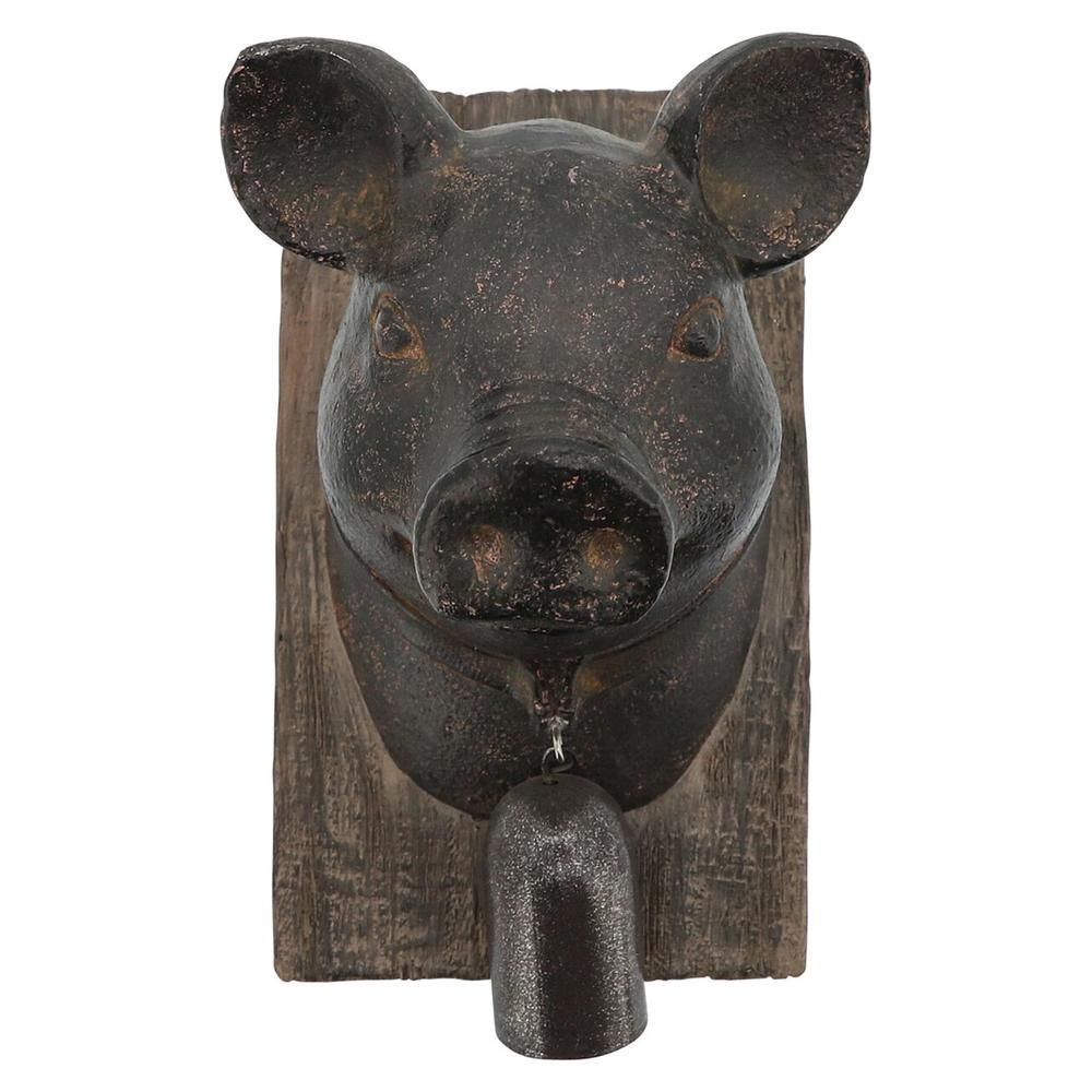 Pig Head With Bell Wall Decor