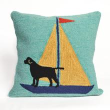 View Product - Liora Manne Frontporch Sailing Dog Indoor/Outdoor Pillow Yellow