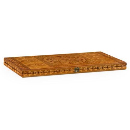 Floral marquetry backgammon board