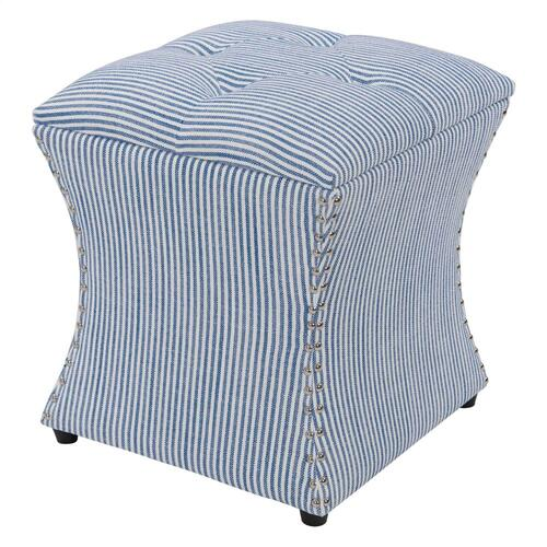 New Pacific Direct - Amelia Nailhead Storage Ottoman, Blue stripes