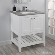 Free standing under-counter vanity with two doors(knobs included) and slotted shelf in wood. Under-mount sink 5452UN, stone countertop H282T are not included.