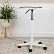 See Details - White Sit to Stand Mobile Laptop Computer Desk