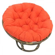Bali 42-inch Rattan Papasan Chair with Microsuede Fabric Cushion - Walnut/Tangerine Dream