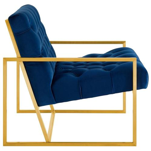 Modway - Bequest Gold Stainless Steel Performance Velvet Accent Chair in Navy