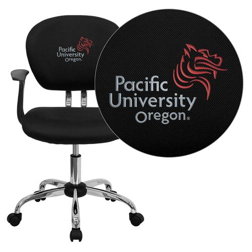 Pacific University Oregon Boxers Embroidered Black Mesh Task Chair with Arms and Chrome Base