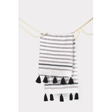 Grey & Natural Striped Woven Throw with Black Tassels