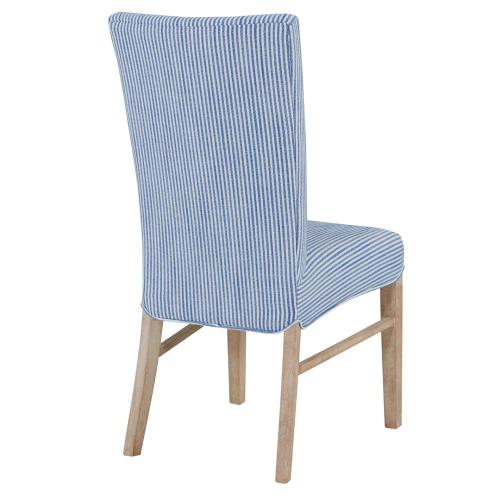 Milton Fabric Dining Side Chair NWO Legs, Blue Stripes