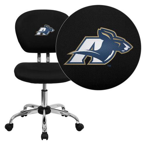 Akron Zips Embroidered Black Mesh Task Chair with Chrome Base
