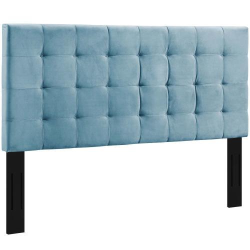Paisley Tufted Full / Queen Upholstered Performance Velvet Headboard in Sea Blue